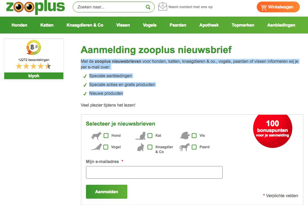 Zooplus kortingscode