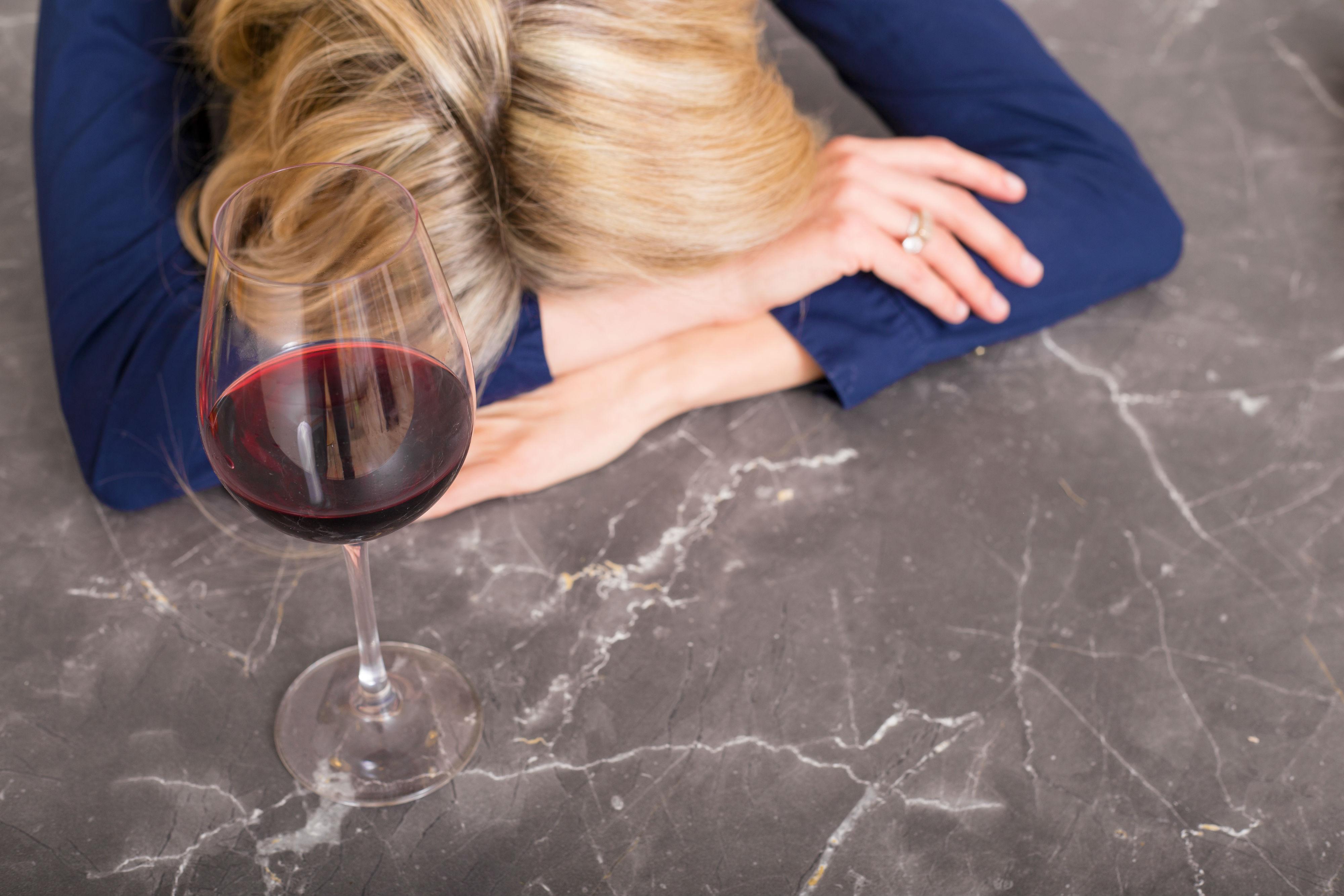 te veel wijn gedronken