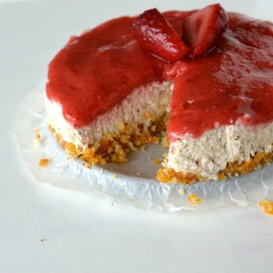 Healthy pelty cheesecake met aardbeien